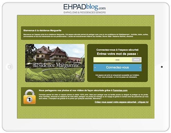 La page de connexion du blog de résidence seniors et EHPAD : tout est privé !