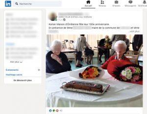 Sur Linkedin ou Facebook, on peut trouver facilement des publications venant d'ehpad et maison de retraite.