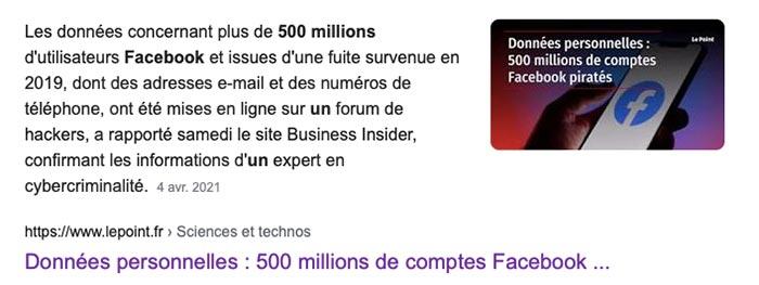 Les données concernant plus de 500 millions d'utilisateurs Facebook ont été piratés